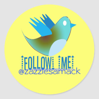 Follow Me @ YOUR Twitter Address Round Stickers