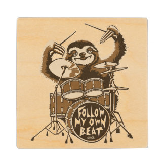 Follow my own beat wood coaster
