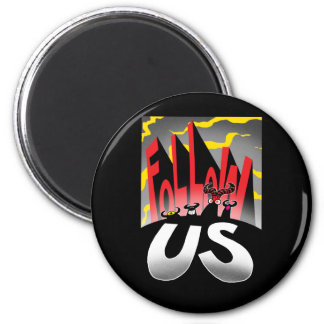 Follow US! 6 Cm Round Magnet