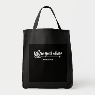 Follow your Arrow CEO of Me Black Grocery Tote Bag