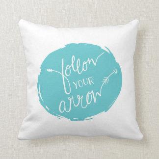 Follow Your Arrow Throw Pillow | {Teal Back}
