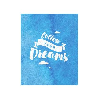 Follow Your Dreams Blue Watercolor Canvas Print