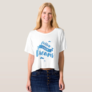 Follow Your Dreams Blue Watercolor Crop Top