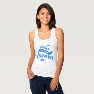 Follow Your Dreams Blue Watercolor Tank Top