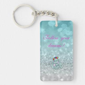 Follow your dreams, Glittery, Bokeh ,Elephant Double-Sided Rectangular Acrylic Key Ring