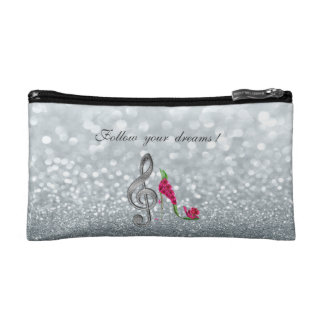 Follow your dreams, Glittery, Heels,Violine Key Cosmetics Bags