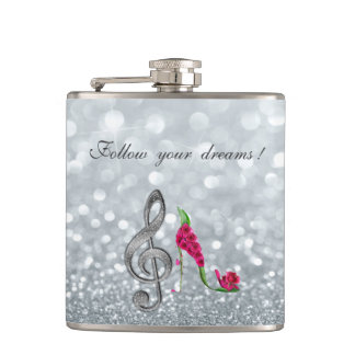 Follow your dreams, Glittery, Heels,Violine Key Hip Flask