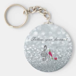 Follow your dreams, Glittery, Heels,Violine Key Key Ring