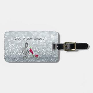 Follow your dreams, Glittery, Heels,Violine Key Luggage Tag