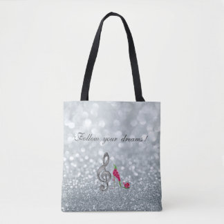 Follow your dreams, Glittery, Heels,Violine Key Tote Bag
