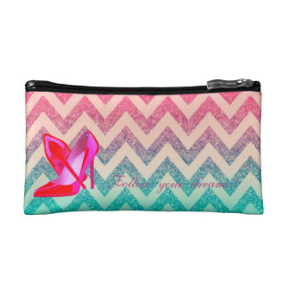 Follow your dreams, Glittery,Zigzag, Heels Makeup Bags