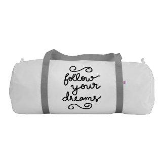 Follow Your Dreams Modern Simple Typography Gym Duffel Bag