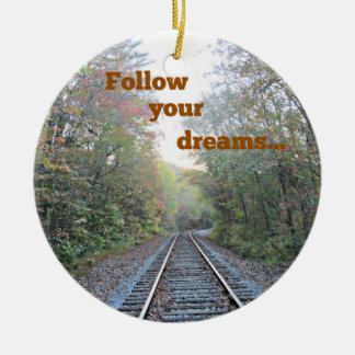 Follow your dreams round ceramic decoration