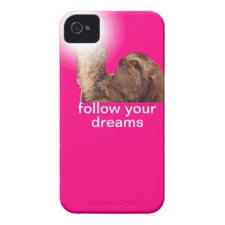 Follow your dreams - sloth magenta iPhone 4 cover
