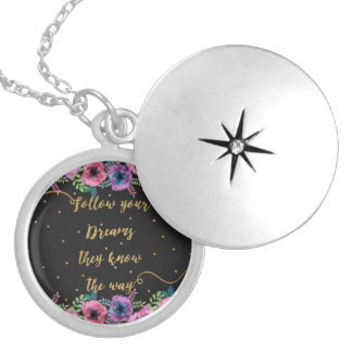 """""""Follow your dreams they know the way"""" quote Locket Necklace"""