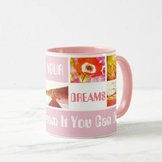 Follow your dreams trendy photo template and quote mug