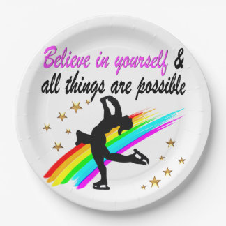 FOLLOW YOUR FIGURE SKATING DREAMS DESIGN 9 INCH PAPER PLATE