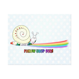 Follow Your Fun Cute Snail following the Rainbow Stretched Canvas Print