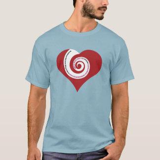 FOLLOW YOUR HEART 001a (SPIRALLING WORDS ON HEART) T-Shirt