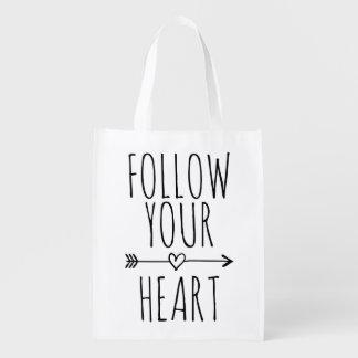 FOLLOW YOUR HEART cute quote reusable shopping bag
