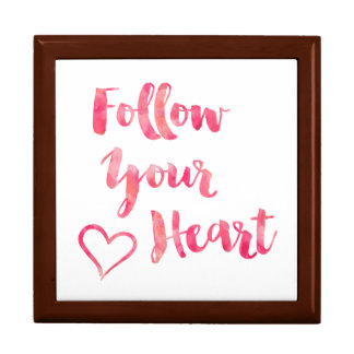 Follow Your Heart Pink Watercolor Quote Template Gift Box