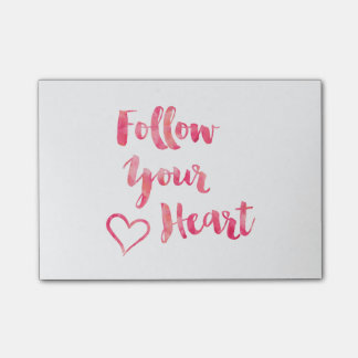 Follow Your Heart Pink Watercolor Quote Template Post-it Notes