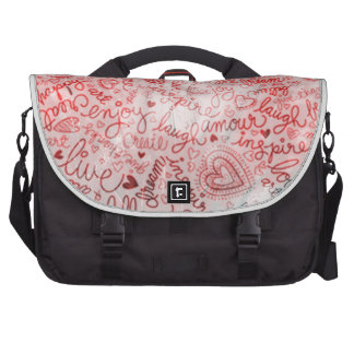 Follow your heart, red laptop bags