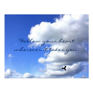 Follow Your Heart Sky Flight Inspirational Postcard
