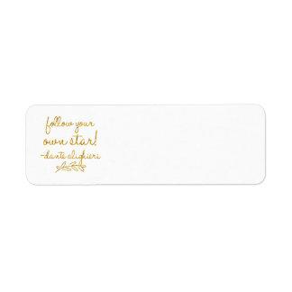 Follow Your Own Star Dante Gold Faux Foil Metallic Return Address Label