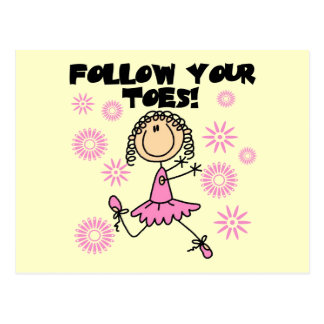 Follow Your Toes Ballerina Tshirts and Gifts Postcards