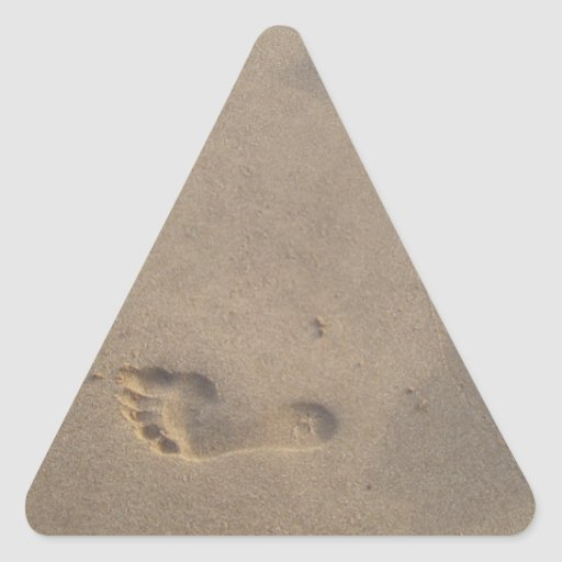 Following a Trail Footsteps in the Sand Triangle Sticker