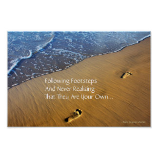 Following Footsteps Modern Haiku Poster