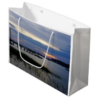 Folly Harbor Sunset Large Gift Bag
