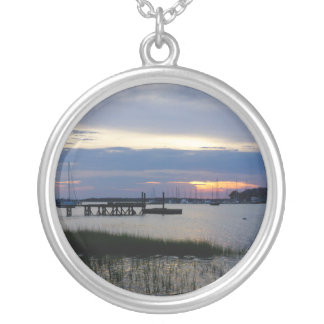 Folly Harbor Sunset Silver Plated Necklace