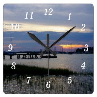 Folly Harbor Sunset Square Wall Clock