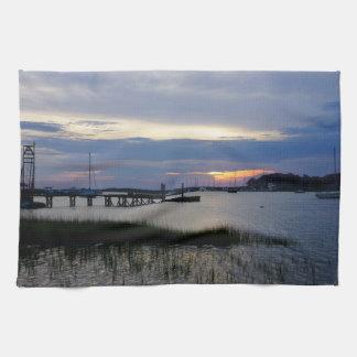 Folly Harbor Sunset Tea Towel