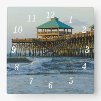 Folly Pier Morning Square Wall Clock
