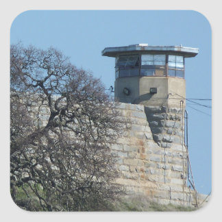 Folsom Prison Guard Tower Square Sticker