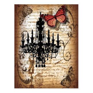 fondo vintage chandelier butterfly fashion postcard