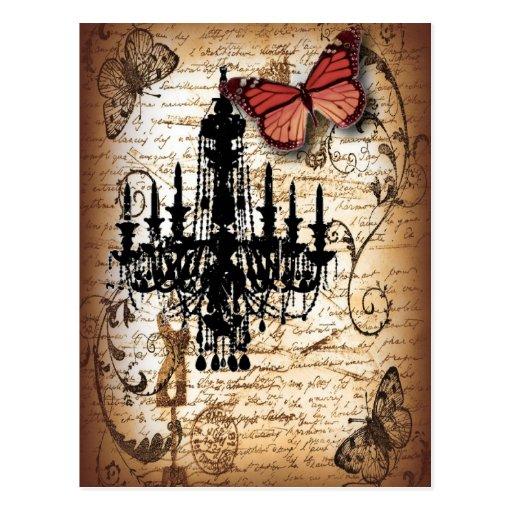 fondo vintage chandelier butterfly fashion post card