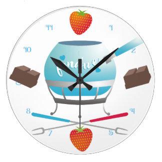 Fondue party chocolate strawberries kitchen clock