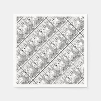 Food and Wine Festival Line Art Design Disposable Napkins