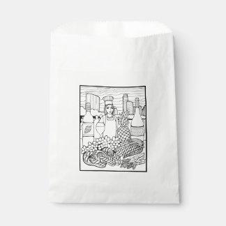 Food and Wine Festival Line Art Design Favour Bag