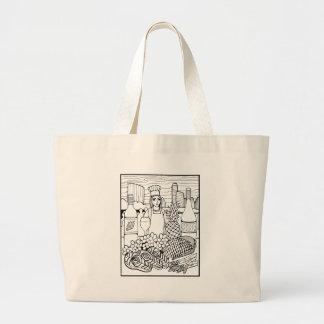 Food and Wine Festival Line Art Design Large Tote Bag