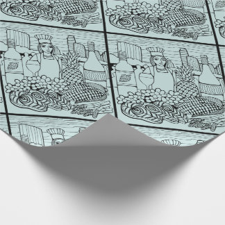 Food and Wine Festival Line Art Design Wrapping Paper