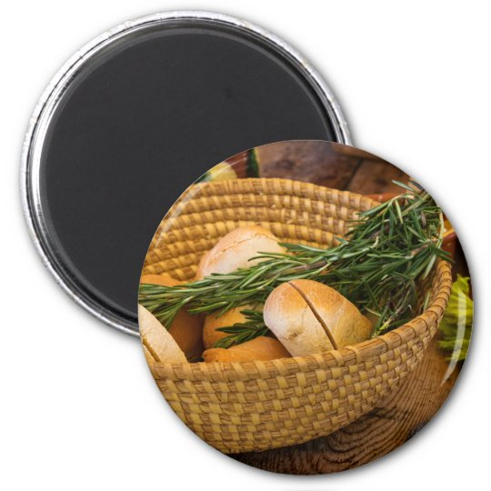 Food - Bread - Rolls and Rosemary 6 Cm Round Magnet