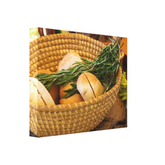 Food - Bread - Rolls and Rosemary Canvas Print