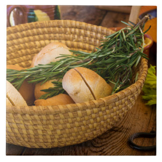 Food - Bread - Rolls and Rosemary Ceramic Tile