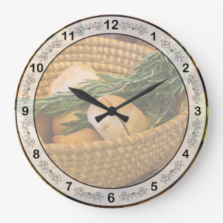 Food - Bread - Rolls and Rosemary Large Clock