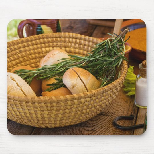 Food - Bread - Rolls and Rosemary Mouse Pad